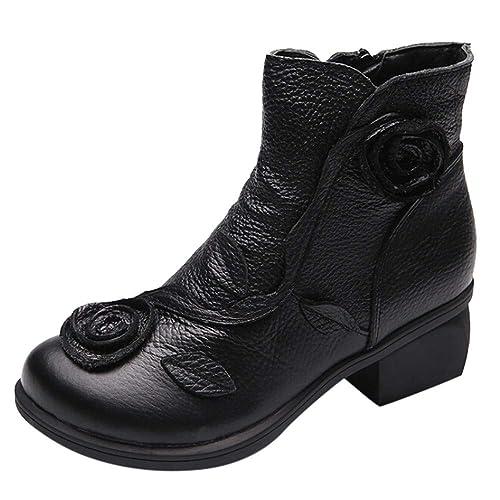 Frau Handgenäht Schuhe Blumen Stiefel Ethnisch Stil Leder j5R4AL