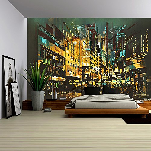 wall26 - Night Scene Cityscape,Abstract Art Painting - Removable Wall Mural | Self-adhesive Large Wallpaper - 100x144 inches Cityscape Wall