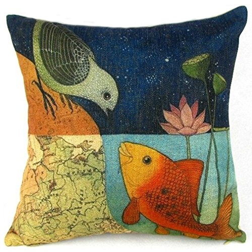 World Linen Pattern - Onker Cotton Linen Square Decorative Throw Pillow Case Cushion Cover 18
