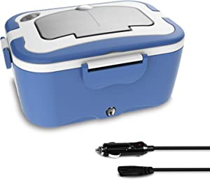Boys Lunch Boxes for Car,Travel,Portable Food Warmer Heating,Food-Grade Stainless Steel Container, 12V&35W Adapter, Car Truck Use,Spoon and 2 Compartments Included(Blue)