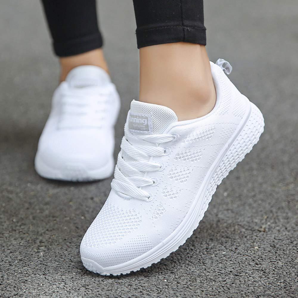 MUOU Schuhe Damen Jogging Sneaker Fitness-Center Oder Park Jogging Damen Sportschuhe Schnür Laufschuhe Für Frauen Mesh Turnschuhe Für Mädchen Weiß f60c56