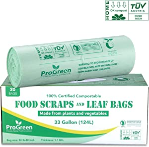 ProGreen 100% Compostable Bags 33 Gallon, Extra Extra Thick 1.1 Mil, 20 Count, Extra Large Lawn And Leaf Trash Bags, Biodegradable ASTM D6400 BPI And VINCOTTE Certified
