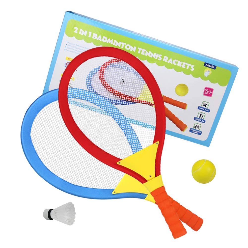 Raquettes de Badminton Tennis Jeux Exterieur Ballon Ball de Badminton Tennis Jouet Plage pour Enfant âgés de 3+ Ans