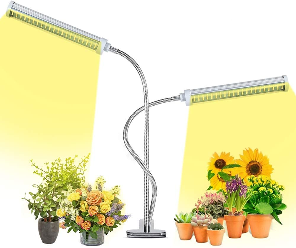 Grow Light for Full Spectrum, 210 pcs led Chips, with 3/9/ 12H Timer 6-Level dimming 3-Level Light Style, Replaceable Grow Light, Adjustable Gooseneck, for House Garden Hydroponics/Succulent Growing
