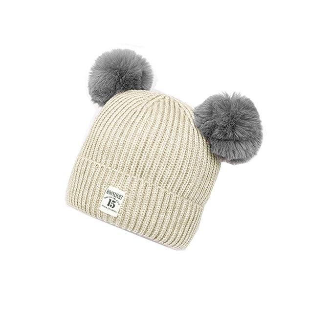 Cappello Bambino Invernale Beanie Cappelli di Lana Berretto con Pon Pon  daBambini Neonati Ragazze Lavorato A 368b9962ab38