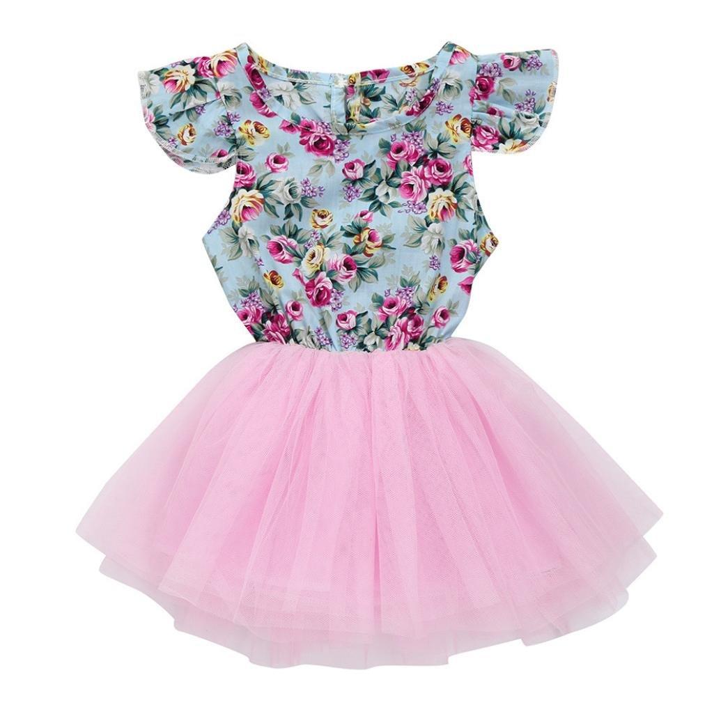 odeer Kids Valentineドレス、ベビーガールズ服幼児用フローラル印刷チュールパーティープリンセスドレス 3T ピンク 3T  B0794STBS2