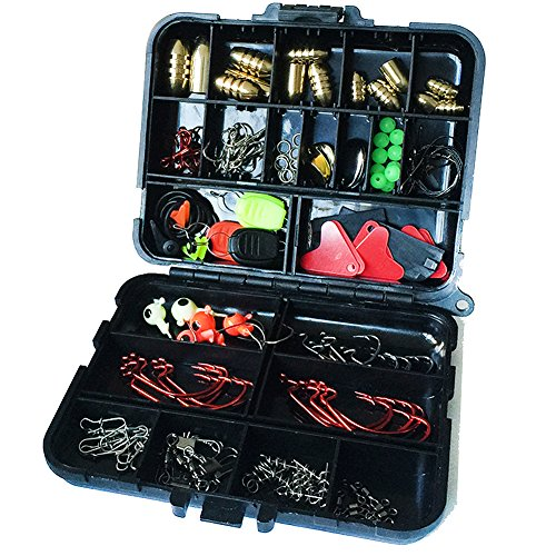 Oak-Pine-128PcsSet-Fishing-Accessories-Set-Carp-Catfish-Freshwater-Saltwater-Fishing-Tackle-Box-Hooks-Swivels-Double-Loops-Spinners-Luminous-Balls-Leaders-Line-Stoppers-Jig-Heads-Etc