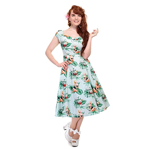 80f4728f00 Collectif Vintage Women s Lori Tropical Pin-Up Girl Dolores Doll Swing Dress   Amazon.co.uk  Clothing