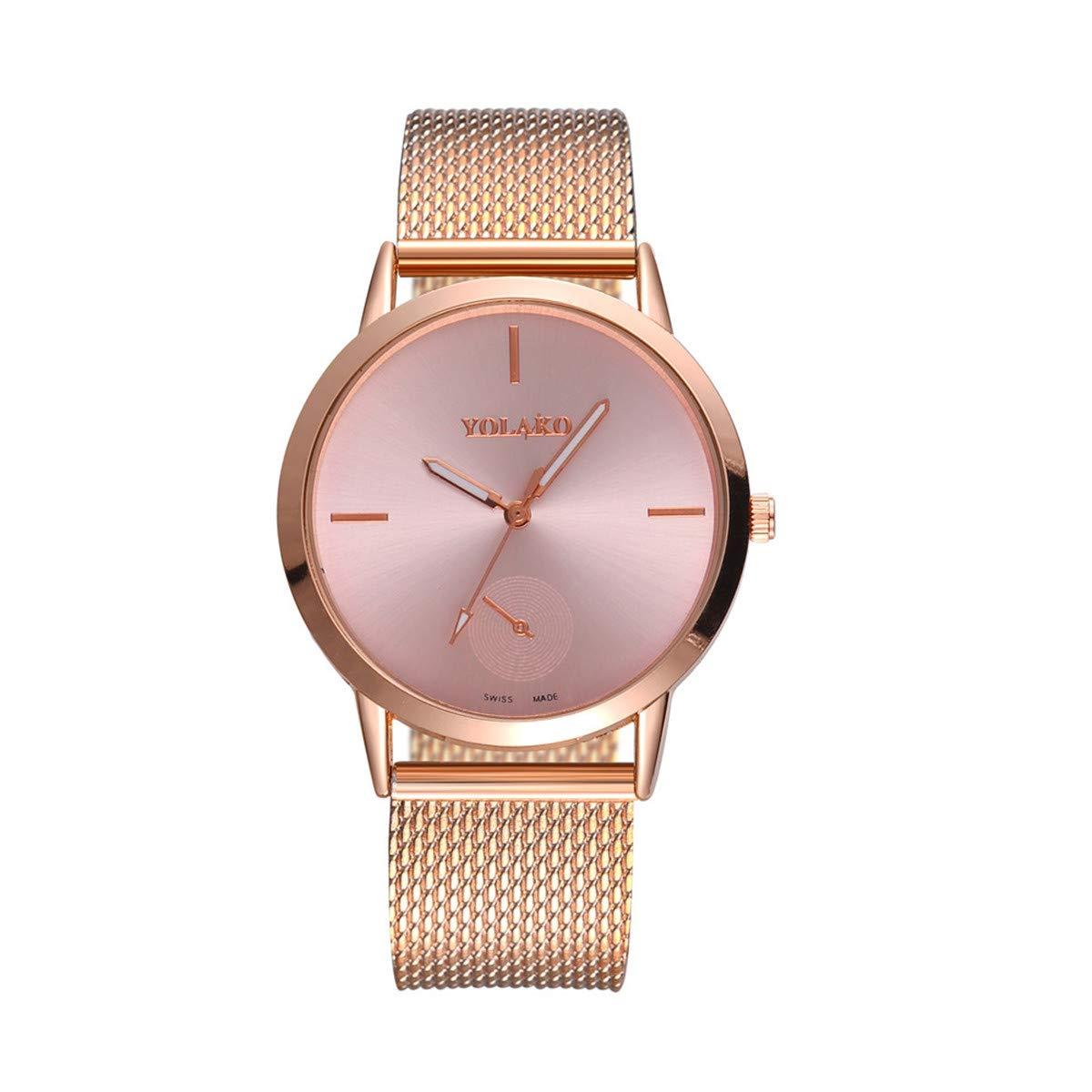 Fainosmny Womens Watch Fashion Watch for Girls Casual General Mesh Belt Watch High Hardness Glass Mirror Wrist Watch (Rose Gold, Free)