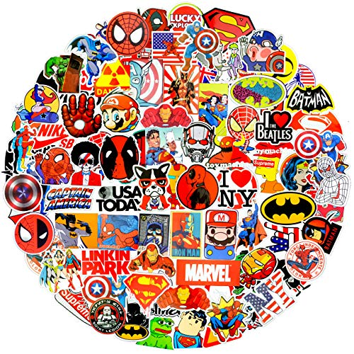 (Lovely Sticker Pack 100Pcs,Zontlink Marvel Sticker Vinyls Decals for Laptop,Kids,Cars,Motorcycle,Bicycle,Skateboard Luggage,Graffiti Bumper Stickers Hippie Decals Bomb Waterproof(Red Storm)