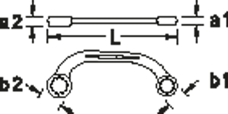 Gedore 400 12x14 Llave poligonal de doble boca abierta 12x14 mm
