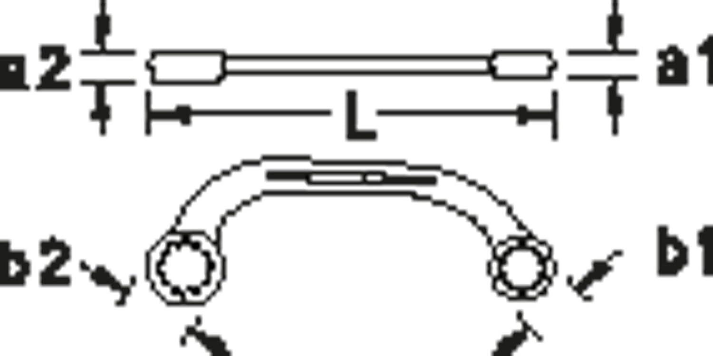 GEDORE 6057430 400 12x14 Doppelringschl/üssel offen 6-Kant 12x14 mm 12 x 14 mm