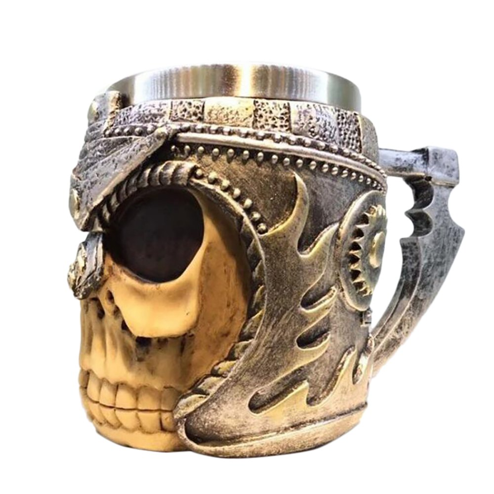 Cuitan Skull Mug Halloween Decoration Gift, Creative 3D Stainless Steel Human Skeleton Coffee Tea Drink Cocktail Beer Tankard Cup for Home Kitchen Bar Party Decor, Personalized Drinkware Tableware