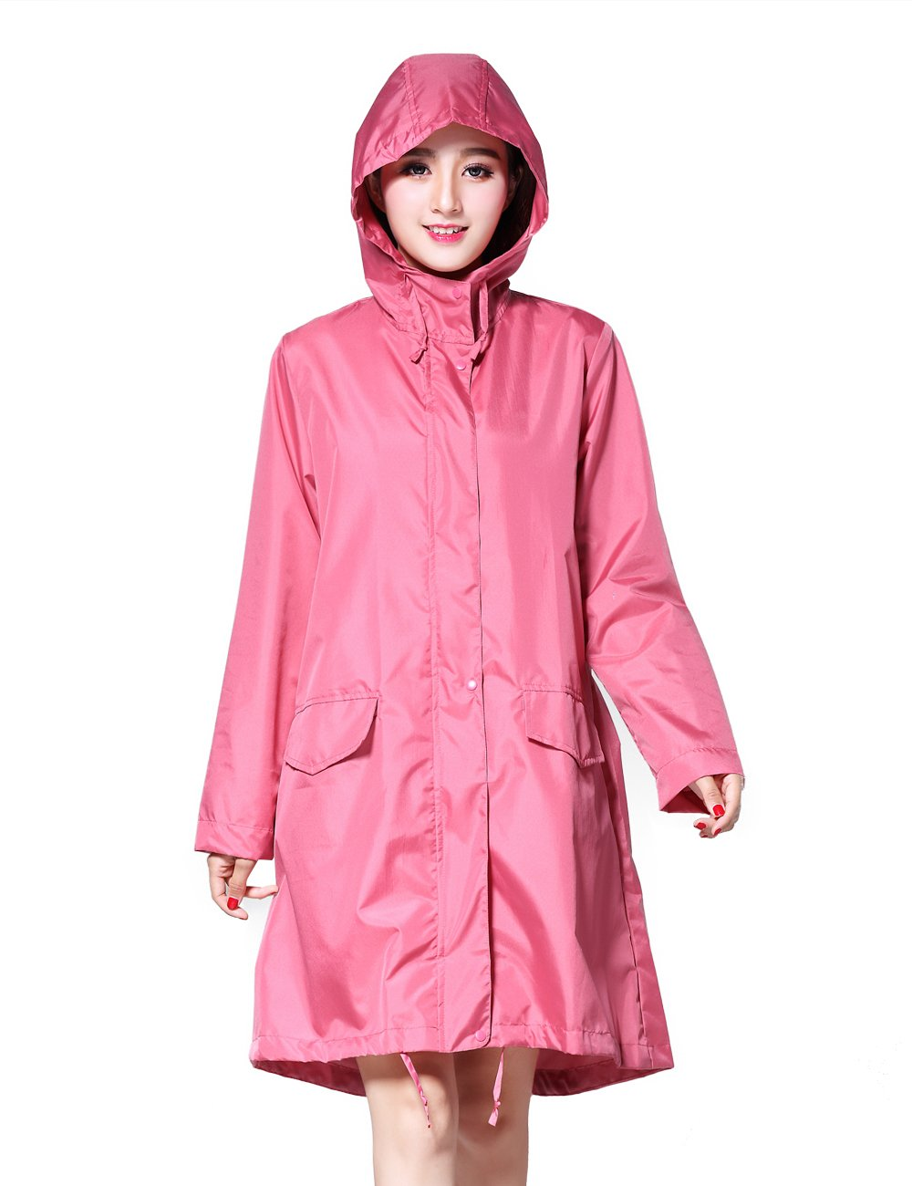 LOHASCASA Women's and Big Gril's Waterproof Raincoat Lightweight Packable Rain Coat Jacket Windbreaker Hooded Pink XL