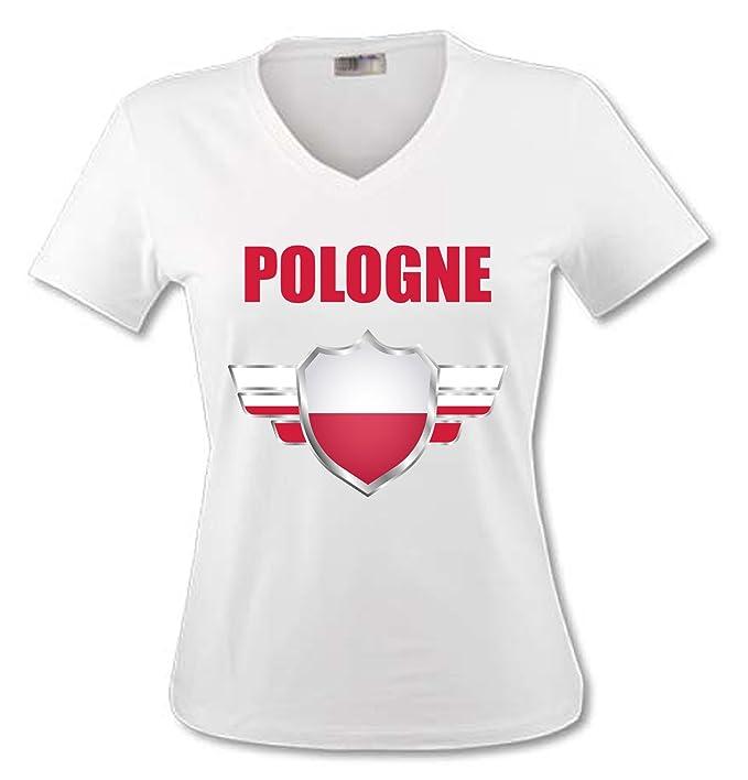 yonacrea - Camiseta de Adulto con Cuello de Pico de Polonia 9ac06da92afa5