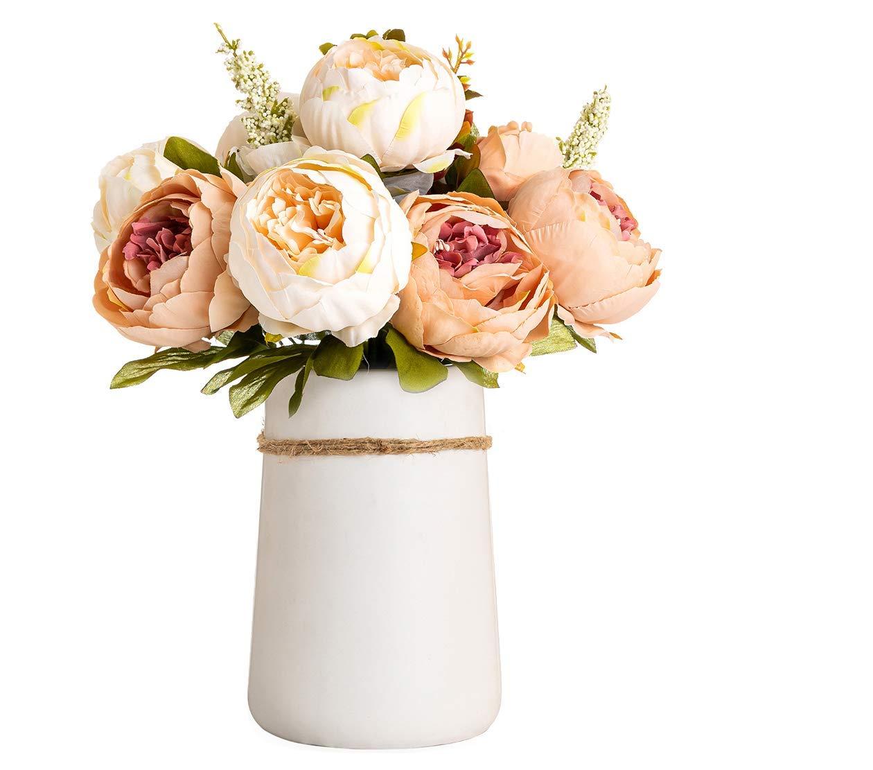 silk flower arrangements queen bee decor artificial silk peony flower bouquet with ceramic vase indoor/outdoor centerpiece events weddings birthday gift bridal floral flower arrangement (champagne)