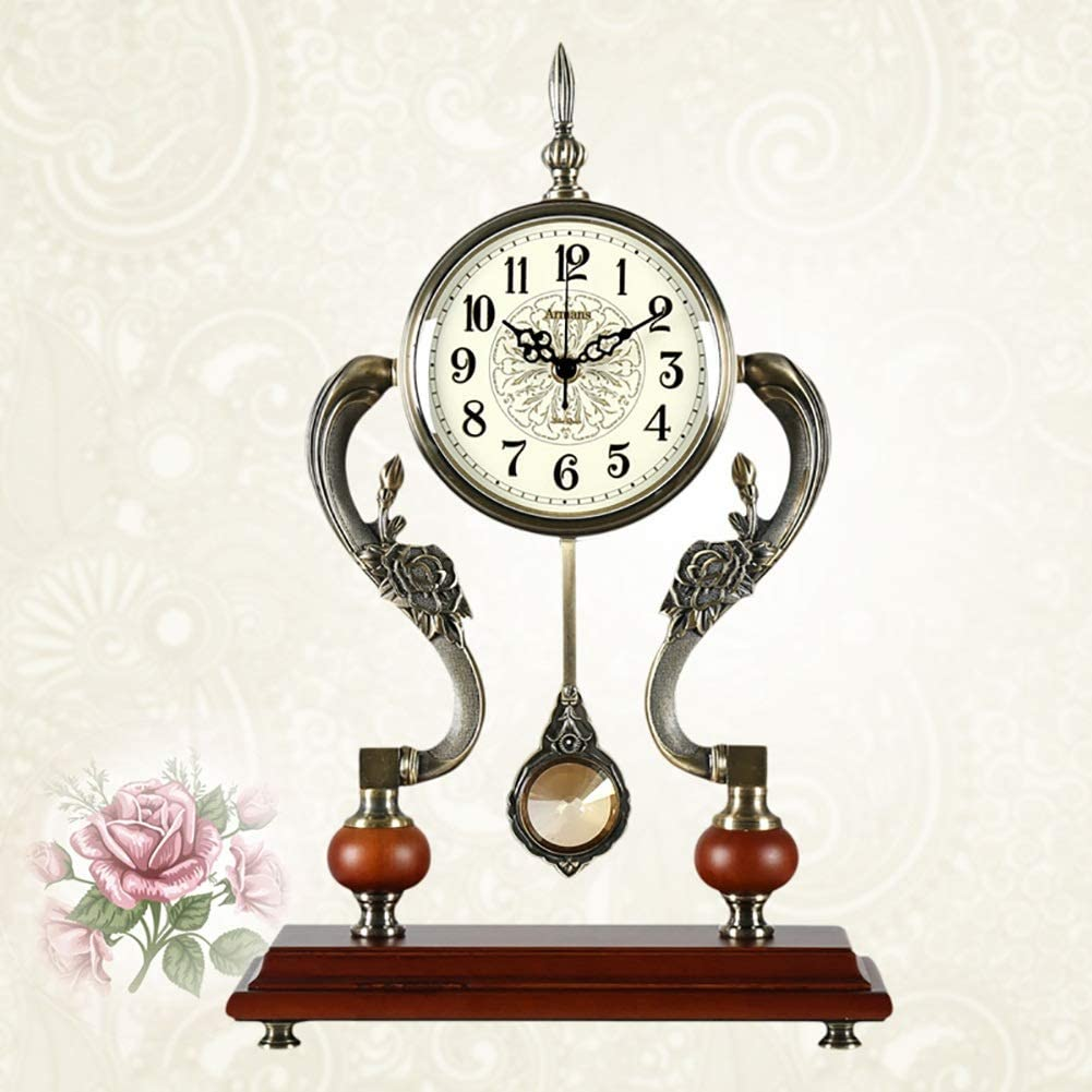 Color : Metallic Zjyfyfyf Mantel Clocks Metal Mantel Clock with Pendulum Decorative Chiming Fireplace Clock is Battery Operated