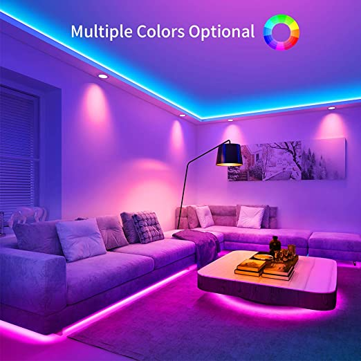 Led Strip Lights Govee 32 8ft Rgb Colored Rope Light Strip Kit With Remote And Control Box For Room Ceiling Bedroom Cupboard Lighting With Bright