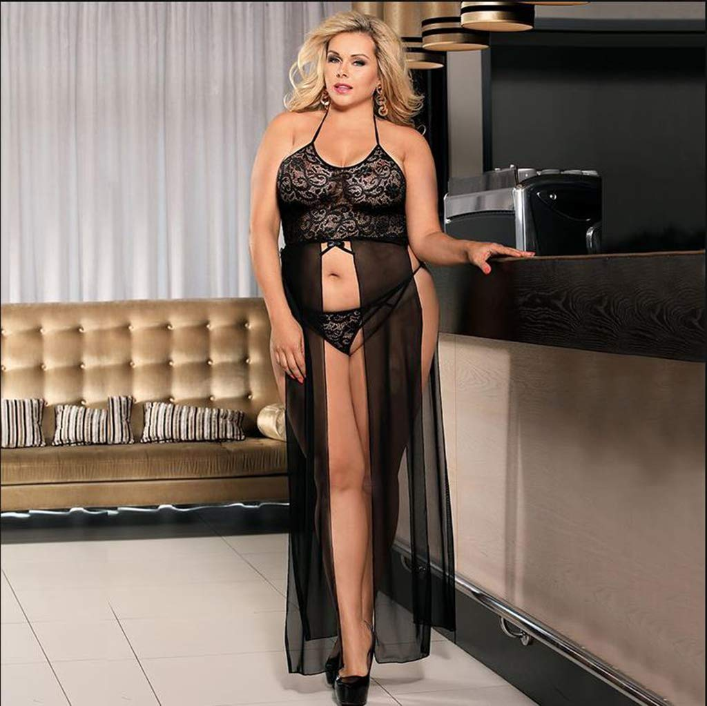 Mujeres Más El Interior Tamaño De La Ropa Interior El Para Lencería Sexy Sexy Camisón De Encaje Largo Pijama Split,Blue,XXXXXL 654fcc