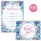 Baby Shower Set Invitations ( 100 ) & Matching Thank You Cards ( 100 ), Envelopes Included, Mommy-To-Be Celebration Large Party Write-In Guest Invites & Folded Thank You Notes Best Value Combination