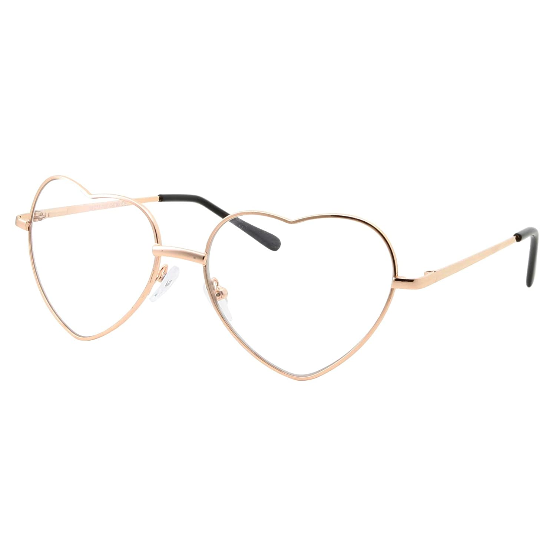 Heart Shaped Gold Clear Lens Eye Glasses Sunglasses M1290HCLR-GP