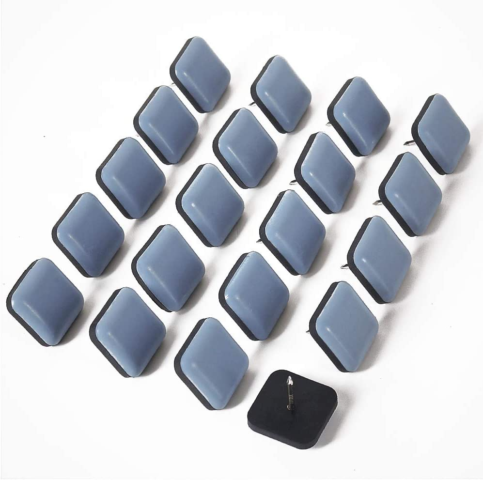 GINOYA Teflon Furniture Sliders, 20pcs 1inch Square Furniture Glides with Nail for Carpet Tile Hardwood (Grayish Blue)