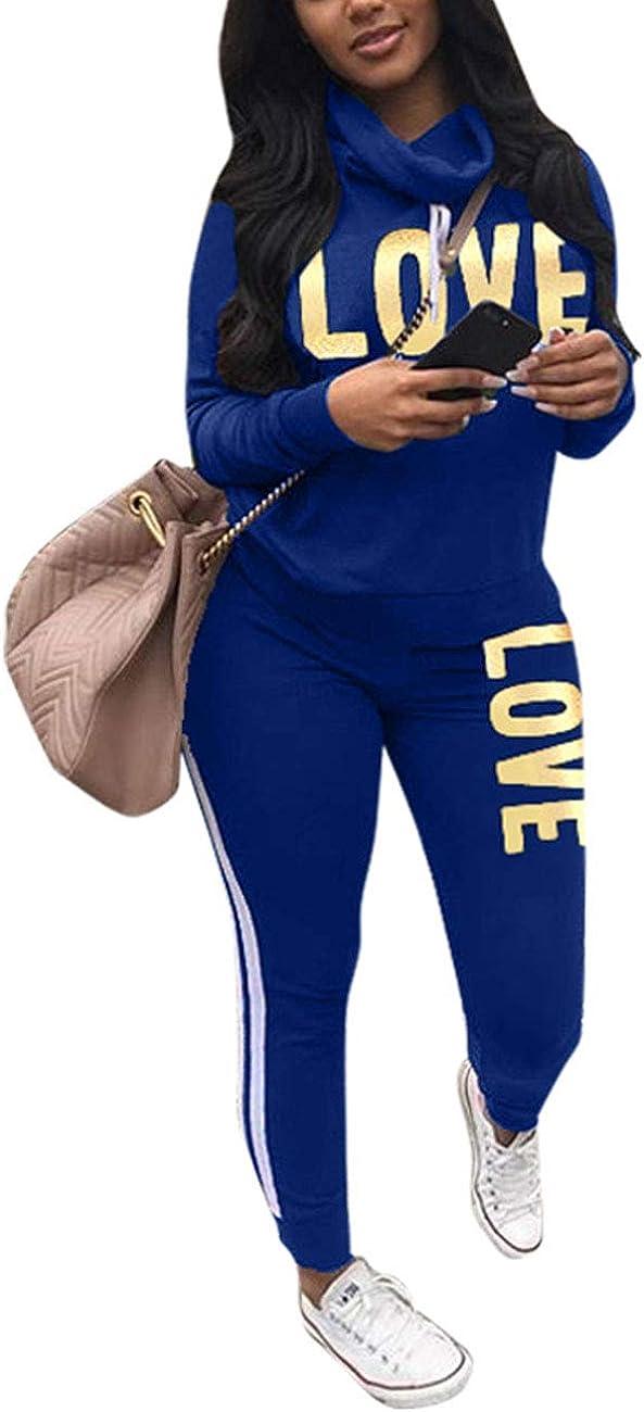 Sweatshirt und Skinny lange Hose Akmipoem Damen Zweiteiliger Sweatanzug mit Wasserfallausschnitt