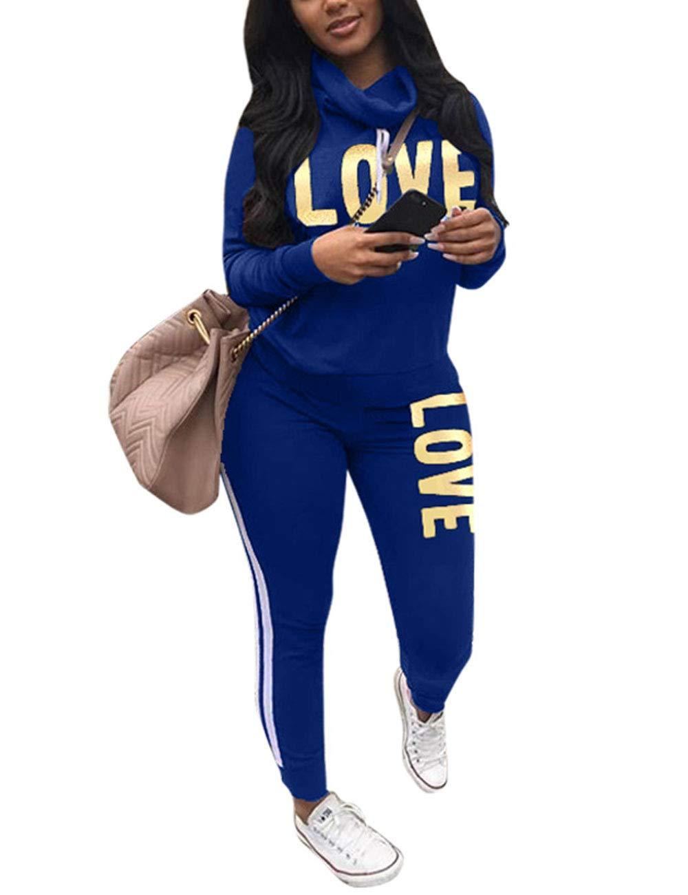 Women's 2 Piece Tracksuit Set Letter Print Cowl Neck Long Sleeve Sweatshirt and Pants Sweatsuit Set Blue XX-Large