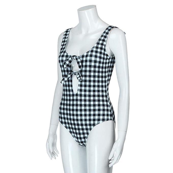 DOGZI Traje de baño de impresión en Cuadros de una Pieza de Mujer Bañador de Playa Bañador de Bikini Push-up Traje de baño Bikini Mujer 2018 Push up Bikinis ...