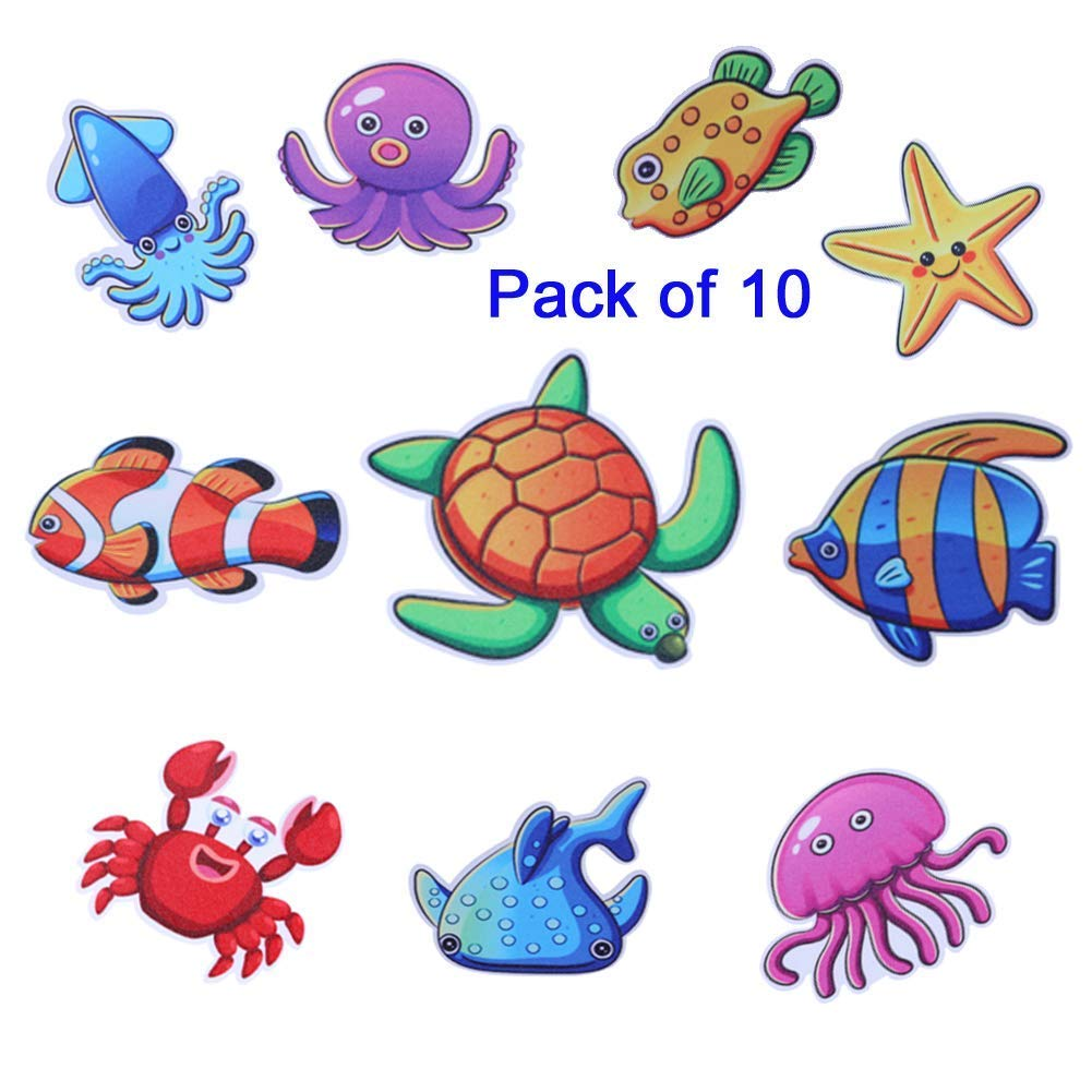 HYZ 10pcs Bathtub Stickers Sea Animals Treads Self Adhesive Safety Non-Slip Decal For Kids