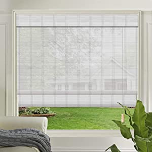 LETAU Wood Window Roman Shades, Bamboo LightFilteringWindow Blinds for Indoor Home, Office, Kitchen, Pattern 2