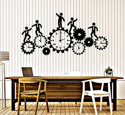 Vinyl Wall Decal Team Work Business Clock Gear Time Stickers Large Decor - Wall Team Clock
