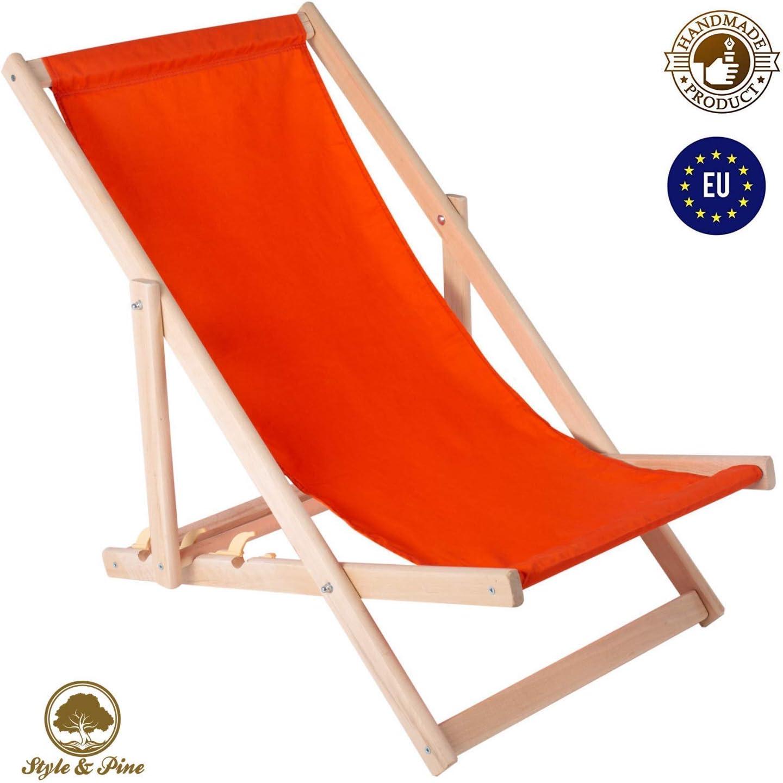 Amazinggirl – Tumbona plegable de madera, con reposabrazos, silla para playa, jardín, balcón, tomar el sol