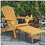 Unbranded* Outdoor Adirondack Wood Chair Foldable w/Pull Out Ottoman Patio Deck Furniture