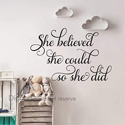 "She Believed She Could So She Did Wall Decal Motivational Wall Decals Nursery Wall Art Sticker Girls Bedroom Decor (Black,14"" h x 22"" w): Home & Kitchen"
