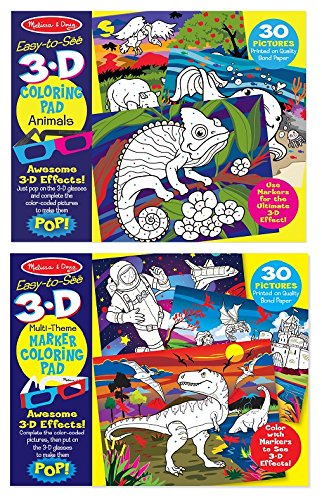 Animals Melissa and Doug 19965-3-D Marker Colouring Pad NEW!!