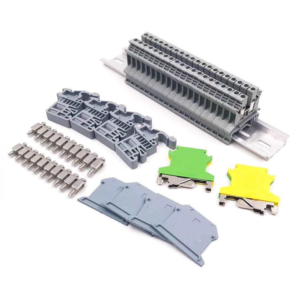 Erayco DIN Rail Terminal Blocks Kit, 20Pcs UK-2.5N 12 AWG Terminal Blocks, 2Pcs Ground Blocks, 2Pcs Fixed Bridge Jumpers, 4Pcs E/UK End Brackets, 4Pcs UK-2.5BG End Covers, 1Pcs 8'' Aluminum Rail