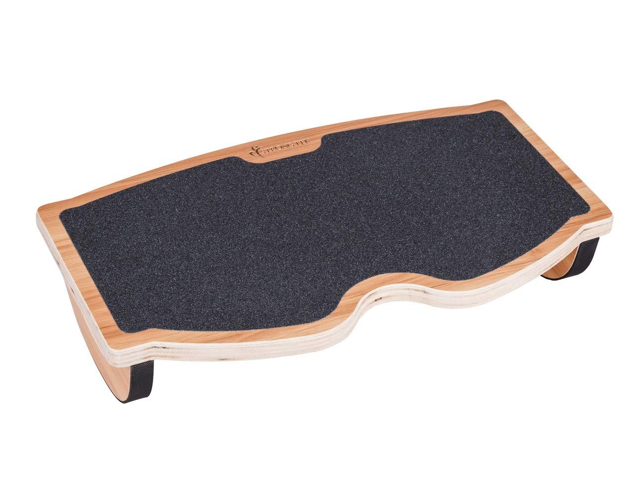 StrongTek Foot Rest Rocker Under Desk, Rocking Step Stool, Balance Board | Natural Wood, Non-Slip | Ergonomic Pressure Relief for Proper Posture Support | Home, Office and PC Use (350LB Capacity)