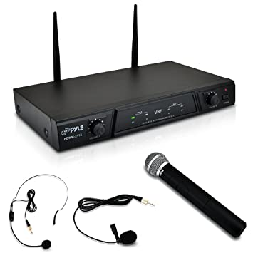 amazon com dual channel wireless microphone system portable vhf
