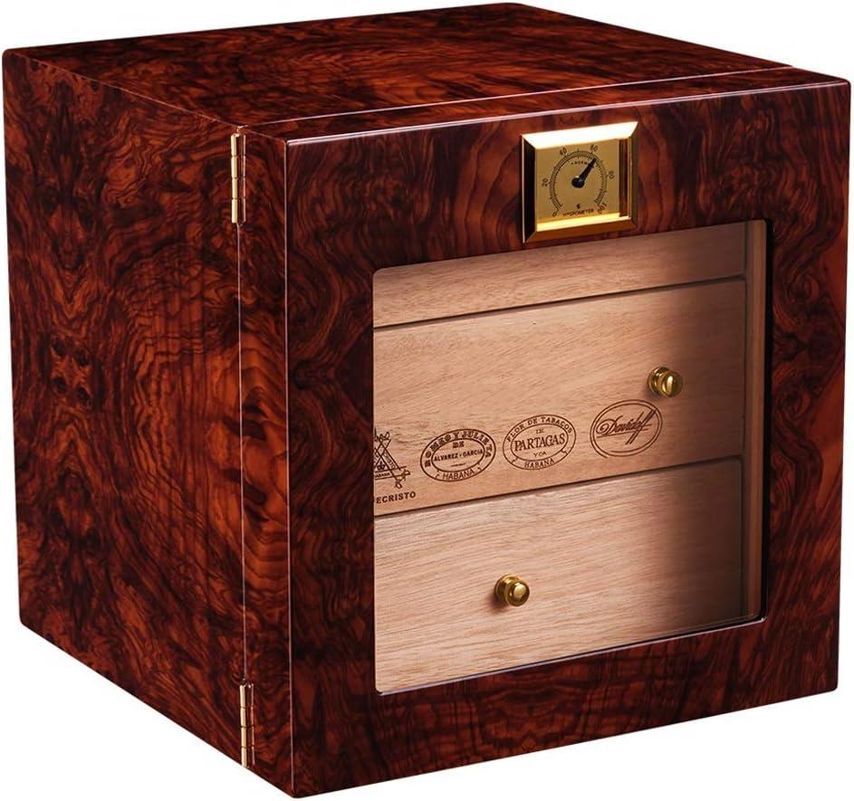 飛強強 ナチュラルメロー杉無垢材ピアノ塗装シガーキャビネット加湿器スモークボックスシガーヒュミドール タバコの飾り箱 (Design : A)