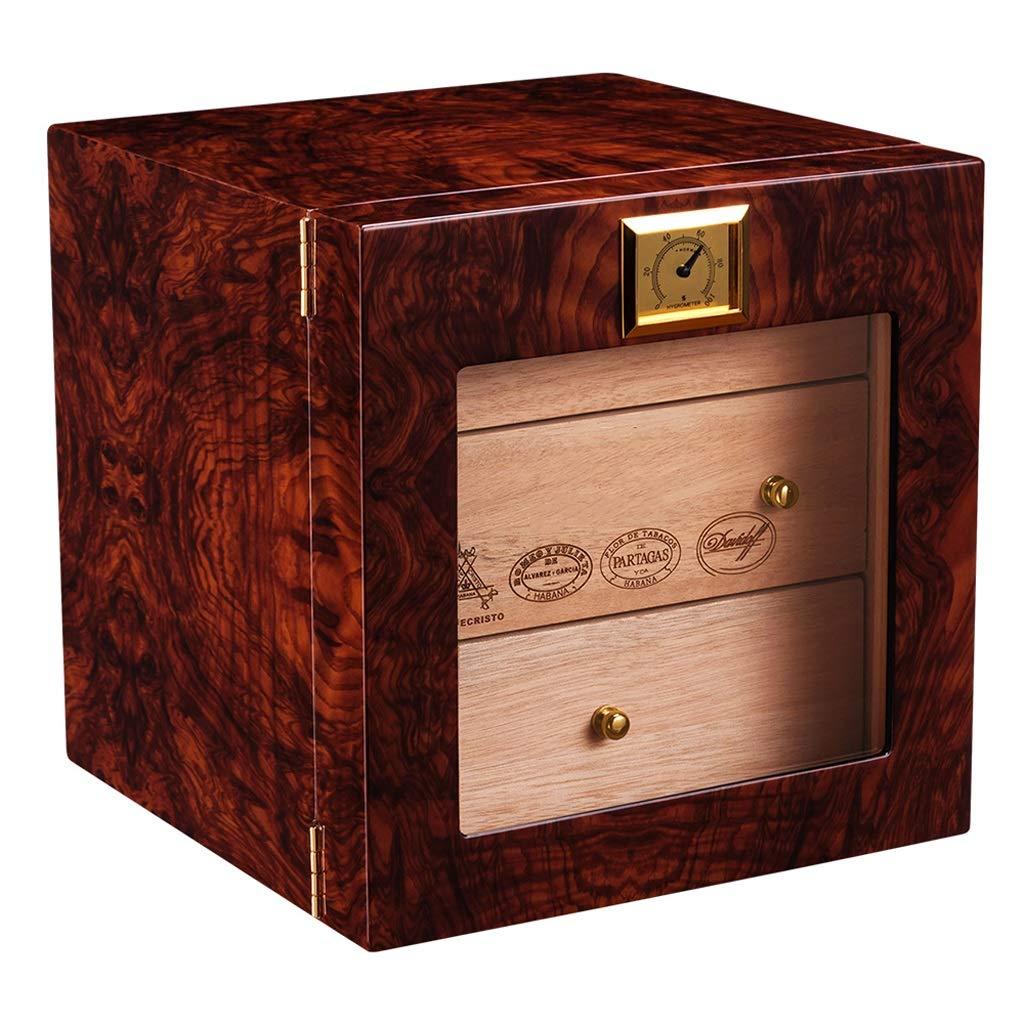 葉巻ヒュミドール シガーボックス - シガーボックスシガーヒュミドールナチュラルメローシダーウッドピアノペイントシガーキャビネット保湿ボックス (色 : Red)  Red B07NVD6WRP