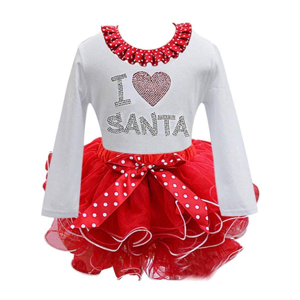 WEIMEITE Fantaisie Nouvel an Bébé Fille De Noël Santa Dress pour Filles Hiver Bonhomme De Neige Vacances Vêtements Vêtements De Noël Parti Tulle Enfants Costume
