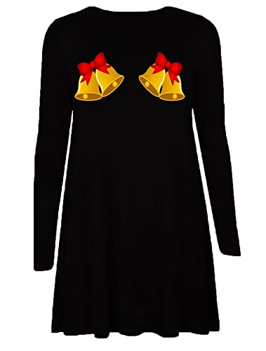 Friendz Trendz-Ladies Bell Xmas manica lunga Stampa di Natale Santa Swing Dress (BELL BLACK, SM)