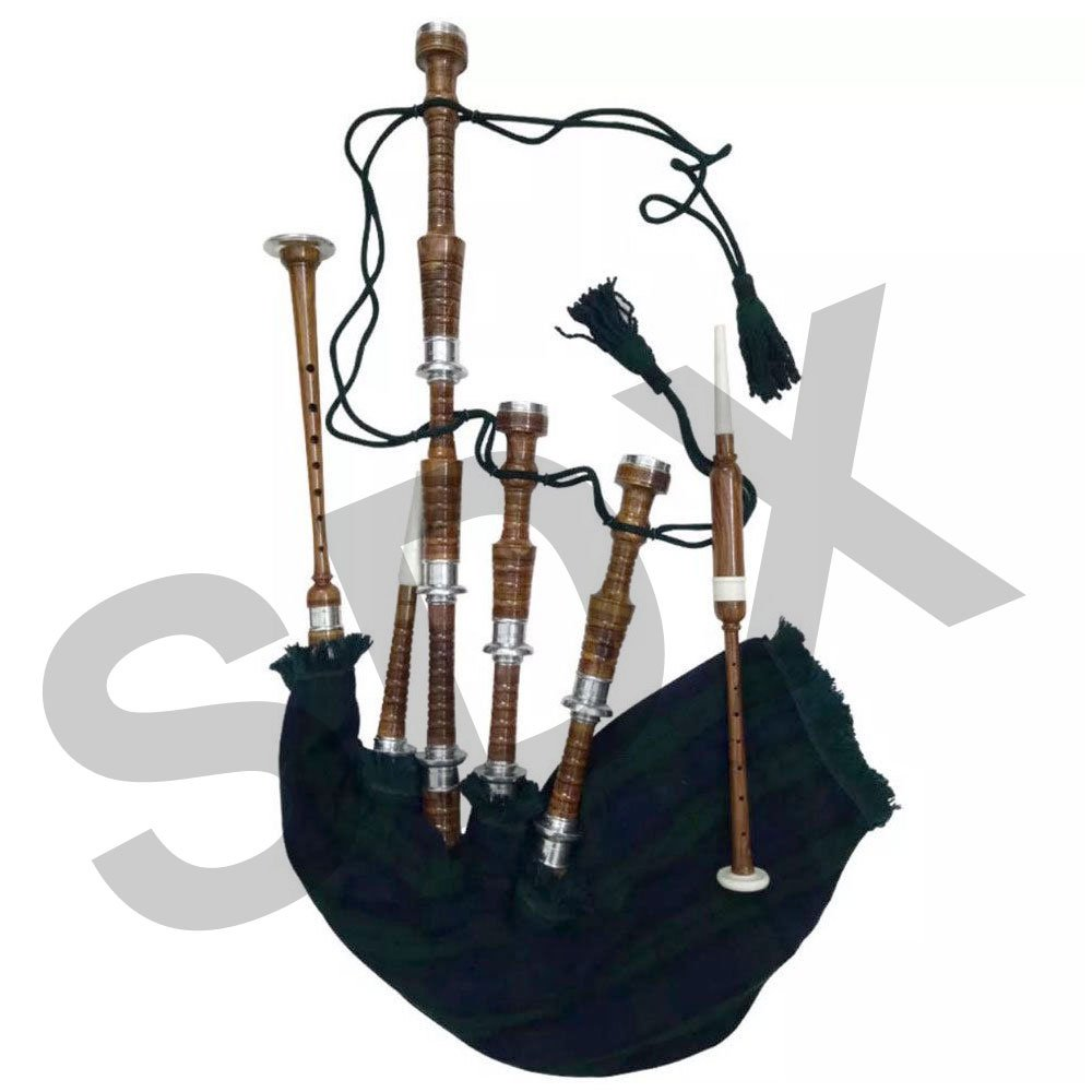 SDX Scottish Bagpipe Rosewood Royal Stewart Tartan Natural Color with Silver Plain Mounts Free Carrying Bag, Drone, Reeds (Brown, Royal Stewart) SDX Sports RST-BRN-CA