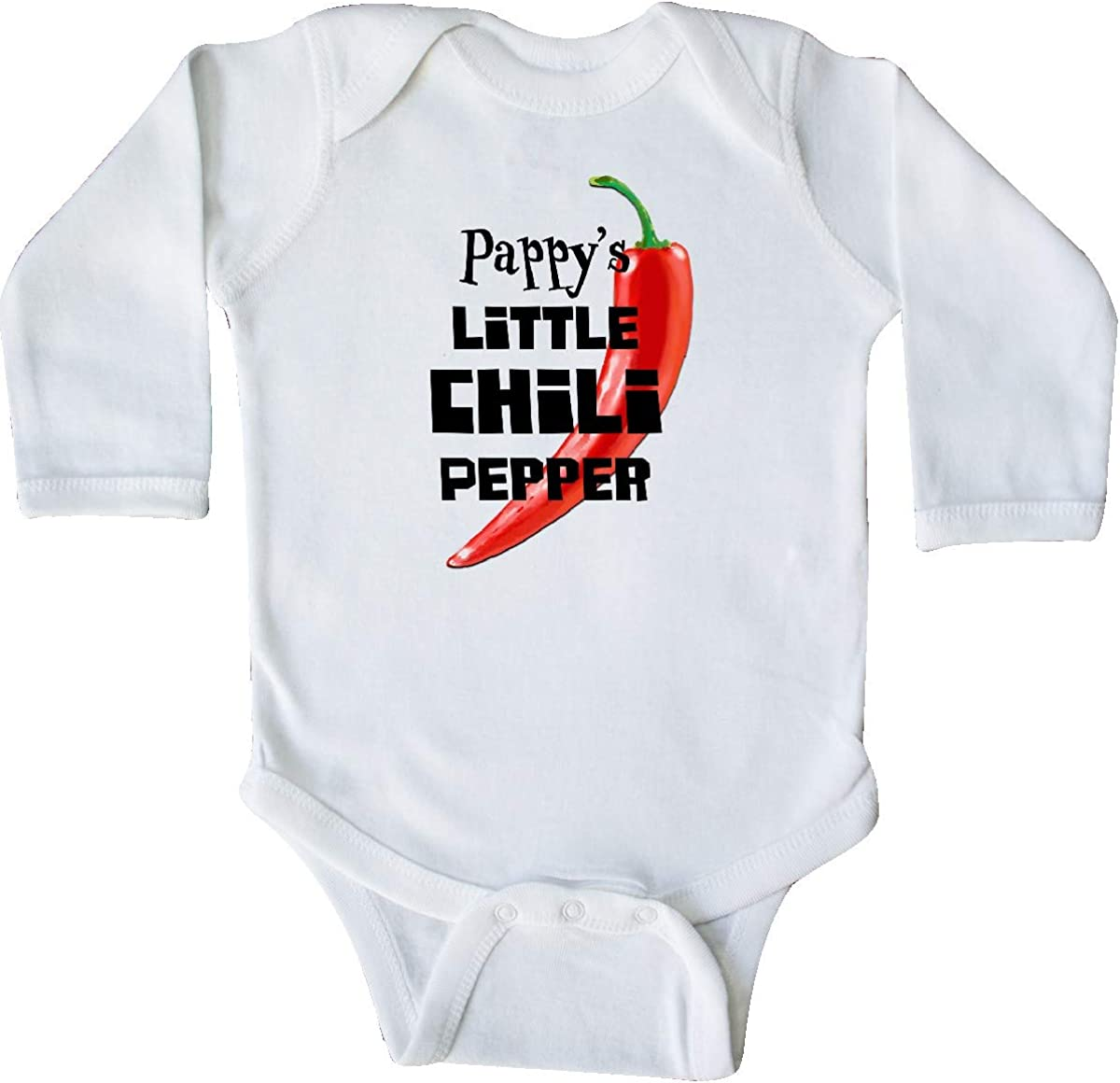 inktastic Pappys Little Chili Pepper Long Sleeve Creeper