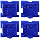 Xerox ColorQube 8570/8580 Cyan Ink Set - 4 Pack Genuine OEM Solid Ink Sticks, Bypass Key Included for Multi-Printer Offices