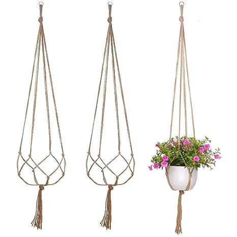 Yakamoz 3pcs Plante Cintre Jute Pot De Fleurs Hanger Plante Corde