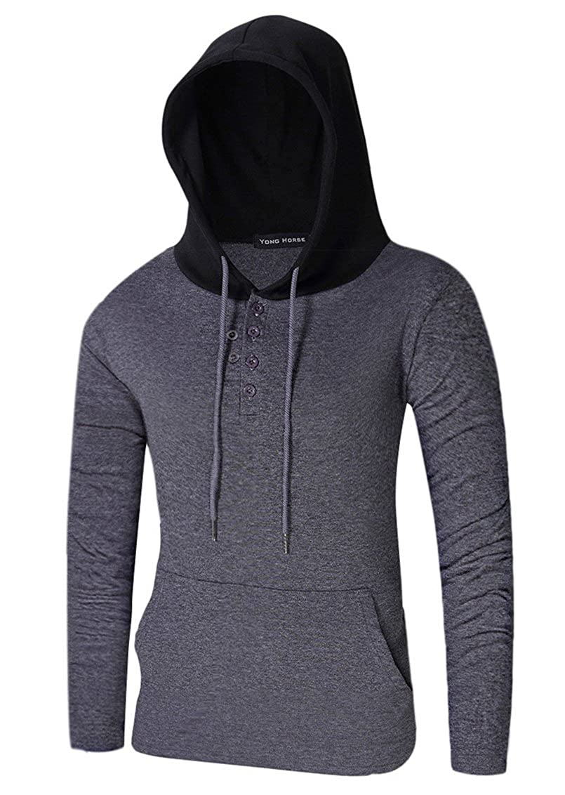 Yong Horse Men Hoodies Solid Color Light Weight Drawstring Pullover Hooded Sweatshirts