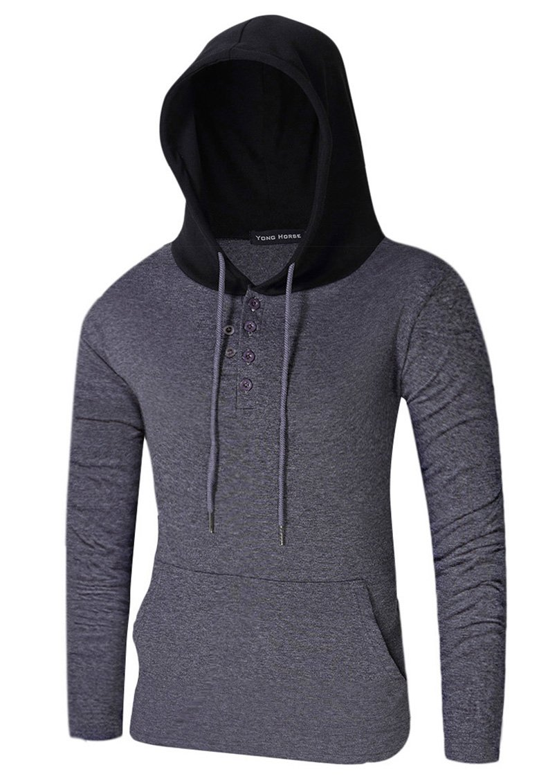 Mens Cotton Blended Lightweight Classic Fit Long Sleeve Contrast Color Stitch Hooded Pullover Sweatshirts (XX-Large, Grey)