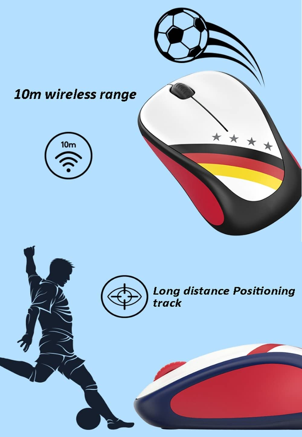 MUTANG World Football Fan Edition Mouse Painted Notebook Desktop Computer Optical Wireless Mouse Color : Brazil